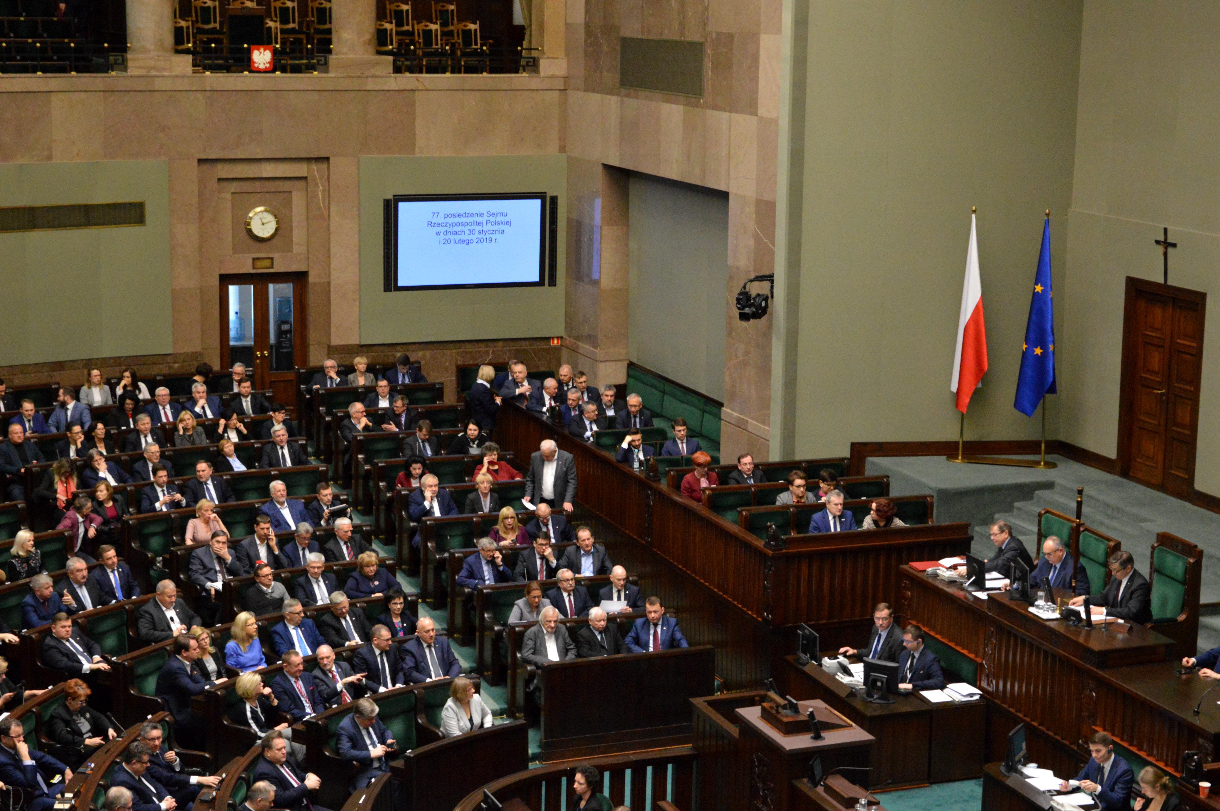 Zakończył się drugi dzień 77. posiedzenia Sejmu RP.  Posiedzenie będzie kontynuowane 20 lutego 2019 r.