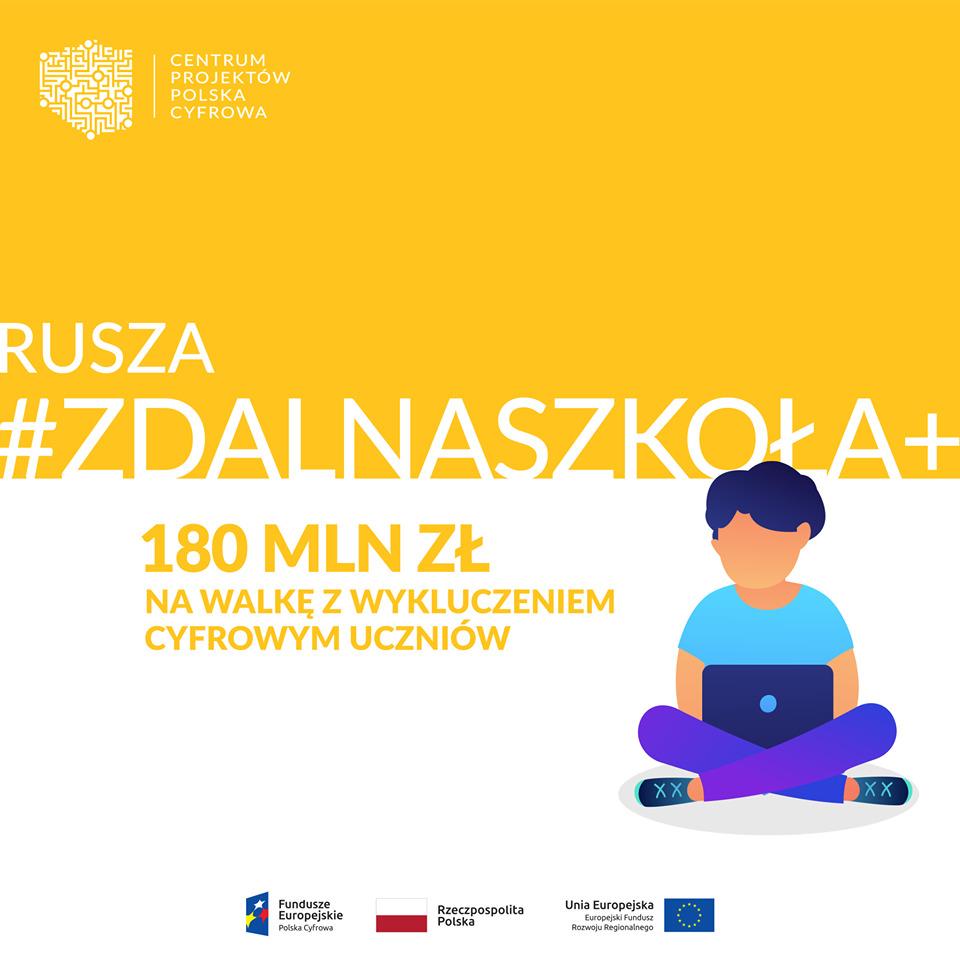 367 milionów złotych na cyfryzację polskich szkół! Cieszący się ogromnym zainteresowaniem program Zdalna Szkoła doczekał  się szybkiej kontynuacji i kolejnych środków tym razem w ramach  projektu Zdalna Szkoła Plus.
