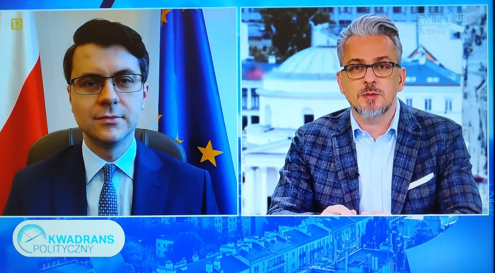 Gość programu Kwadrans polityczny w TVP1