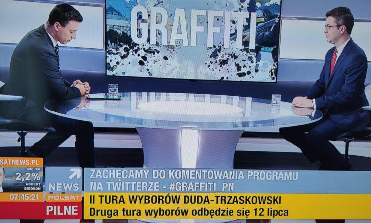 W programie Graffiti w Polsat News z red. Witwickim Piotr Müller rozmawiał m.in o wynikach I tury wyborów prezydenckich, II turze wyborów prezydenckich, sytuacji związanej z wczorajszymi ulewami w Warszawie.