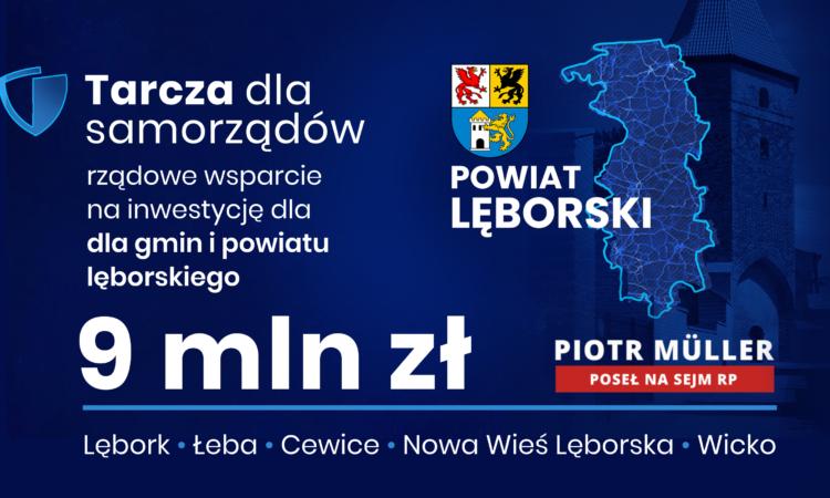 W sumie przeszło 9 mln zł dla regionu lęborskiego z Rządowej Tarczy dla Samorządów. Nowa tarcza w sprawiedliwy sposób wspiera zarówno większe miasta, jak i najmniejsze miejscowości.