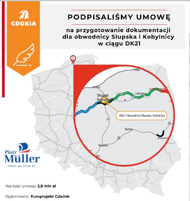 Podpisano umowę na dokumentację obwodnicy Słupska i Kobylnicy w ciągu DK21