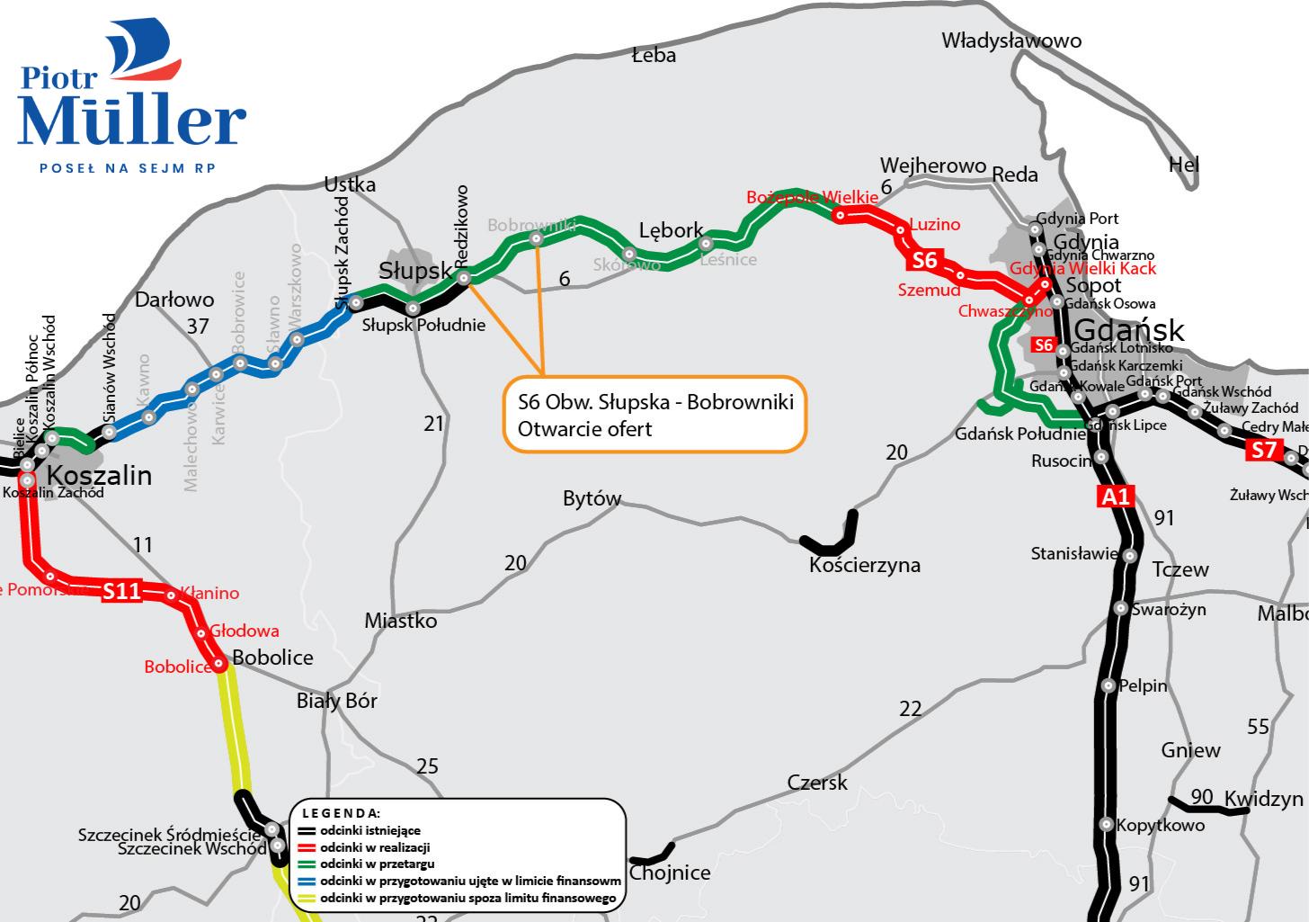 Znamy oferty zgłoszonych wykonawców na ostatni odcinek drogi ekspresowej S6 na trasie Trójmiasto – Słupsk!