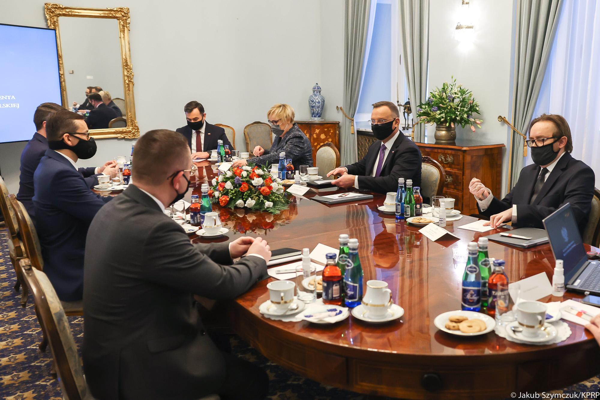 Premier Mateusz Morawiecki spotkał się z Prezydentem Andrzej Duda w Pałacu Prezydenckim