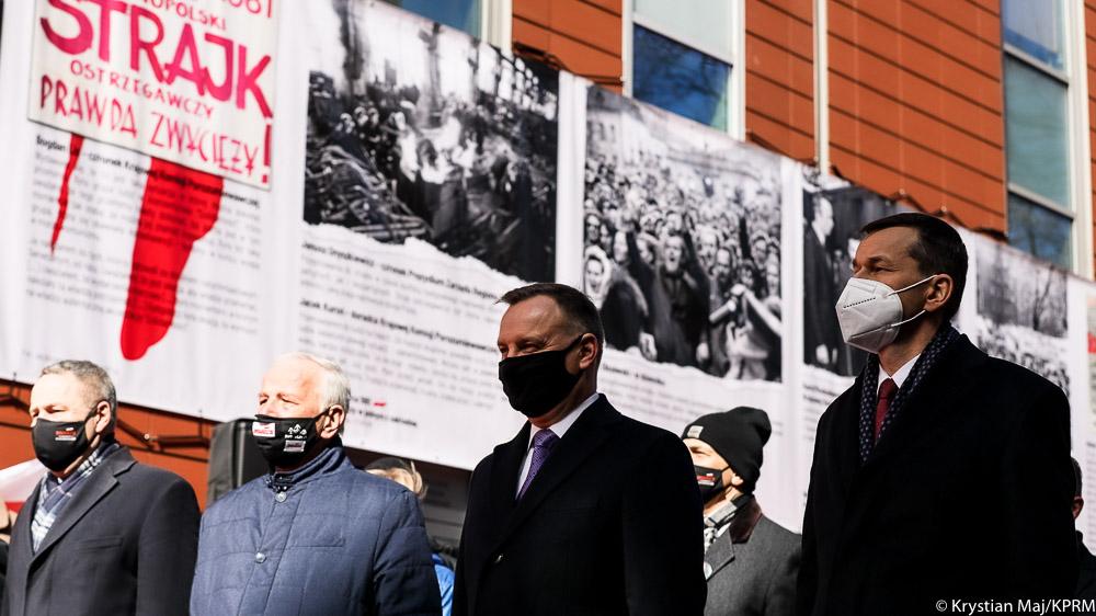 Prezydent Andrzej Duda i premier Mateusz Morawiecki wzięli udział w uroczystości upamiętniającej wydarzenia Bydgoskiego Marca 1981