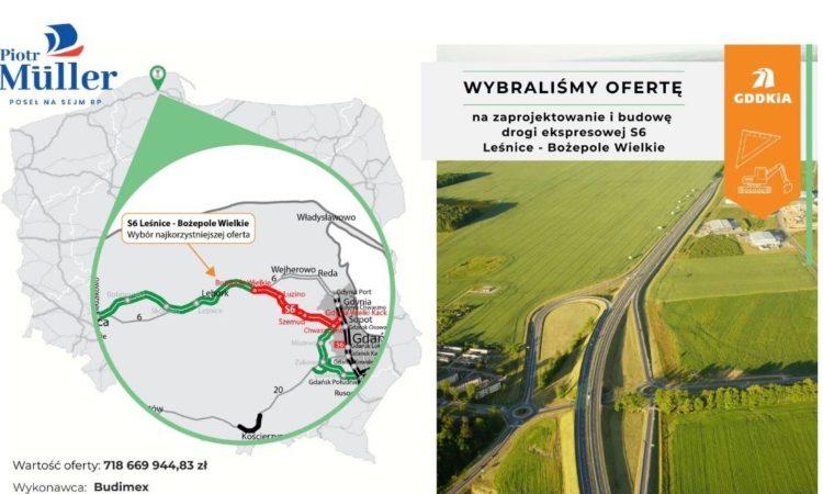 Droga S6 odcinek Leśnice - Bożepole Wielkie - wybrano najkorzystniejszą ofertę na budową i zaprojektowanie drogi ekspresowej S6