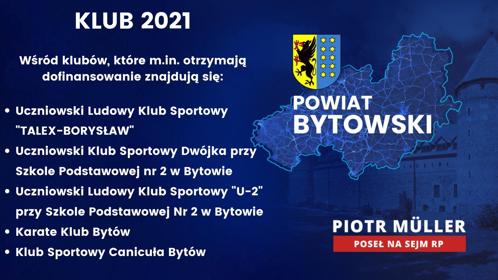 W regionie bytowskim wsparcie otrzyma 13 małych i średnich klubów sportowych. Dofinansowanie zapewnione jest w ramach środków z Rządowego Programu KLUB!